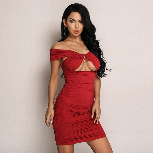 Elegant Off Shoulder Red Summer Pleated Bodycon Party Casual Club Dress