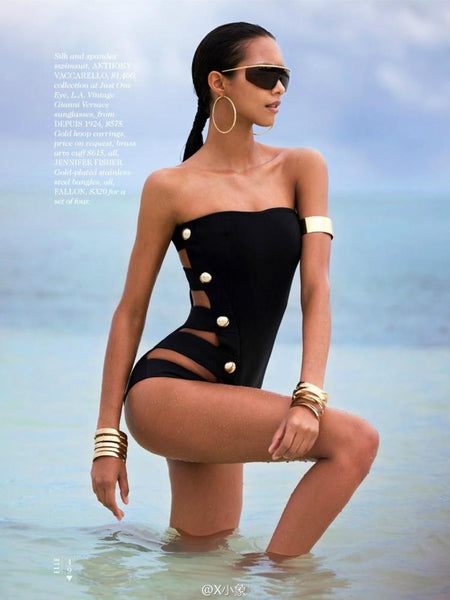 One Piece Strapless Side Split Band Swimsuit Swimwear
