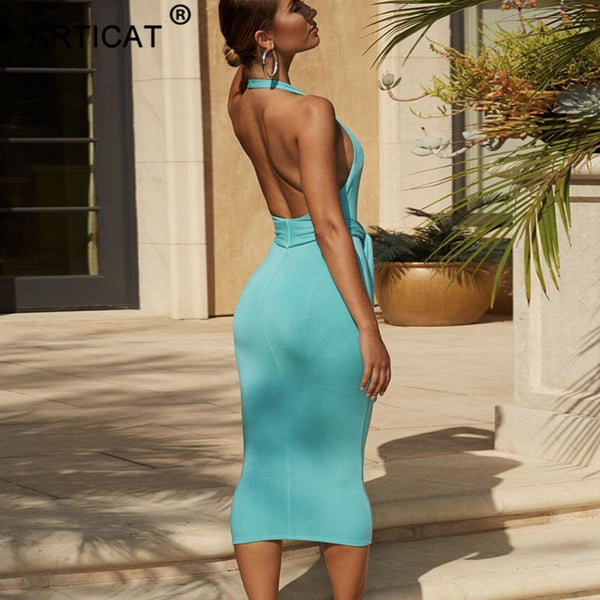 Deep V Neck Halter Sexy Bandage Party Tie Front Backless Long Maxi Dress