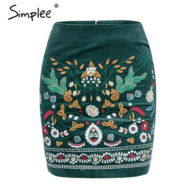 Vintage high waist Boho pencil corduroy winter Embroidered autumn green mini skirt