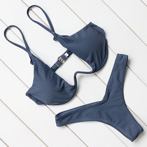 2 Piece Brazilian Push Up Underwire Swimming Bathing Suit Beachwear Bikini Set