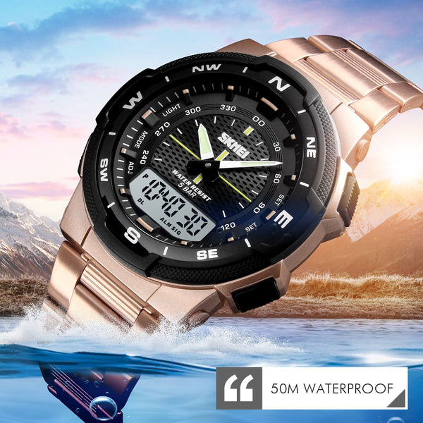 Outdoor Sport 50m Waterproof Digital Quartz Dual Time Military Sports Watch
