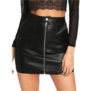 Plain Faux Leather Skirt Black Mid Waist Zip Front PU Elegant Sheath Above Knee Mini Skirt
