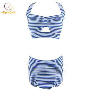 Striped Push Up Swimwear Cross Skirt Bikini Set Brazilian Bathing Suit Beachwear Swimsuit
