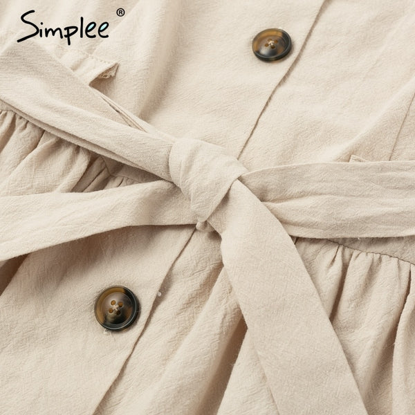 Vintage button women dress shirt V neck short sleeve cotton linen short summer dress