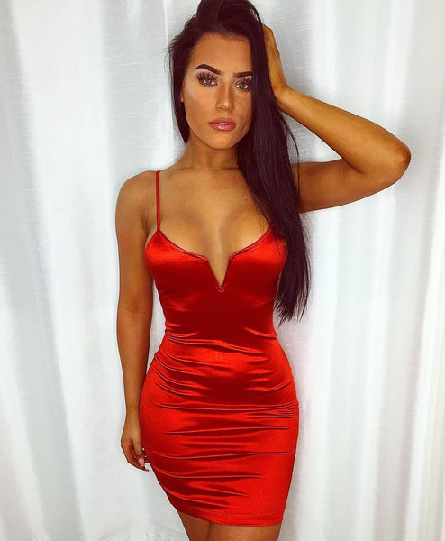 Deep V Neck Satin Party Night Club Mini Dress