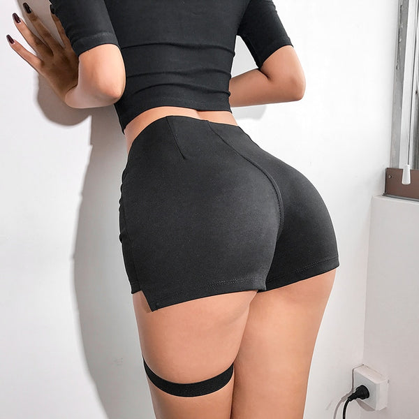 Black Slim High Waist Streetwear Ribbon Patchwork Fitness Short Pants