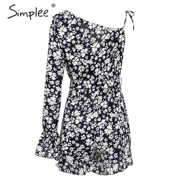Sexy ruffled v-neck bohemian Elegant floral print short jumpsuit romper Summer beach wear  Playsuit overalls