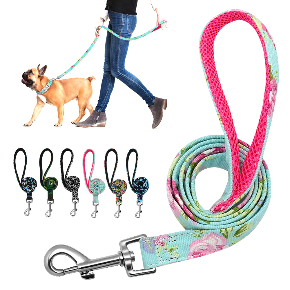 6 Colors Leash Lead Nylon Printed Pet Walking Leash Mesh Padded Running Training Leashes Rope For Small Medium Dogs