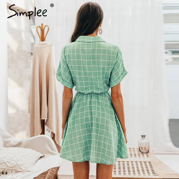 Elegant plaid  Short sleeve A-line casual streetwear short Button summer dress