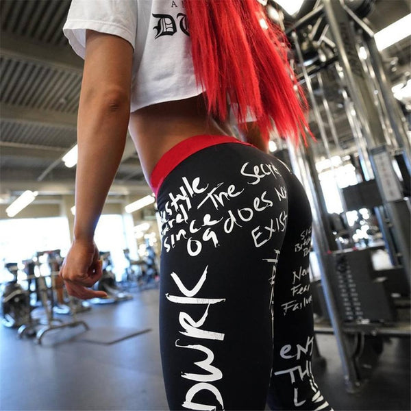 Letter Print Slim Fitness High Waist Elastic Workout Leggings for Gym Sport Running Yoga
