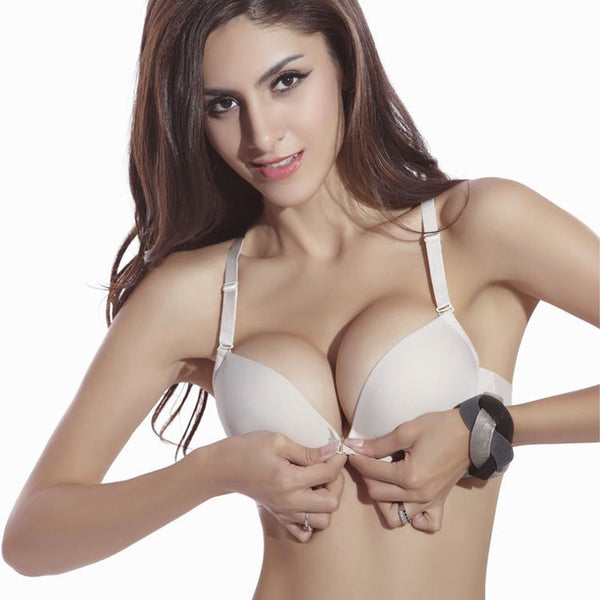 Seamless Gather Adjustable Lingerie Super Push Up Brassier Front Closure Cotton Bra