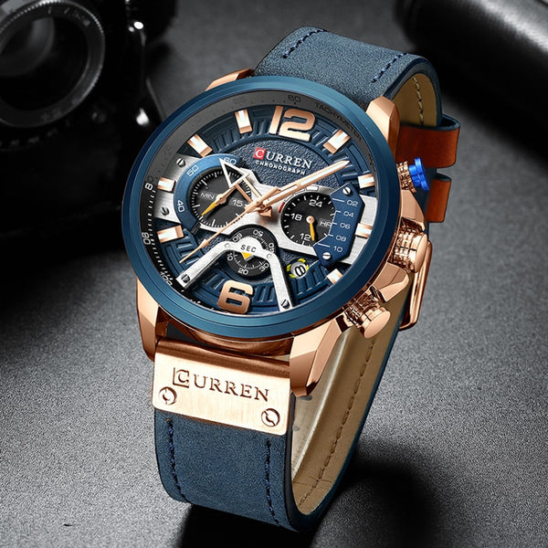 Casual Sport Men's Blue Top Brand Luxury Military Leather Clock Fashion Chronograph Wristwatch