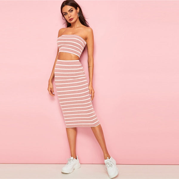 Striped Bandeau Crop Top And Slit Hem Skirt 2 Piece Set Summer Sleeveless Top And Pencil Skirt Two Piece Set