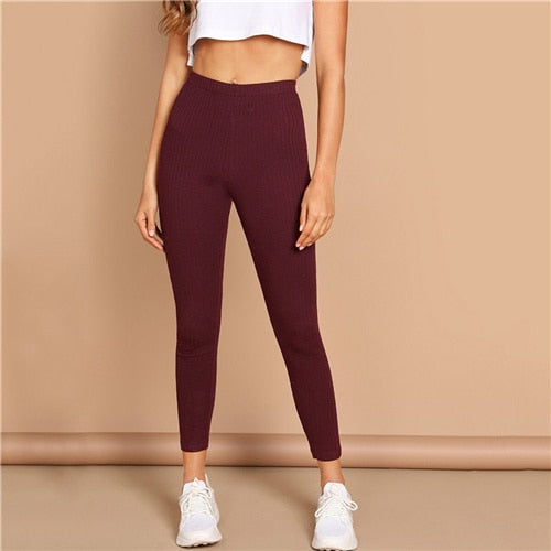 High Waist Solid Casual Spring Autumn Stretchy Fitness Midi Waist Skinny Basics Crop Leggings