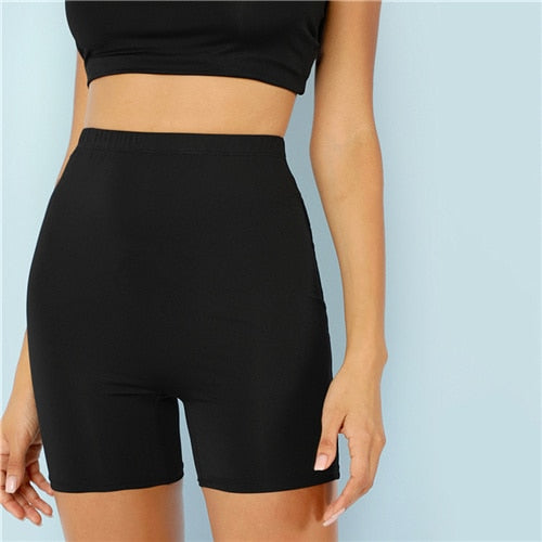 Solid Cycling High Waist Athleisure Crop Fitness Leggings Summer Ladies Casual Workout Leggings