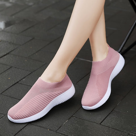 Ladies Vulcanized Shoes Sock Sneakers Summer Slip On Flat Shoes  Plus Size Loafers Walking Flat