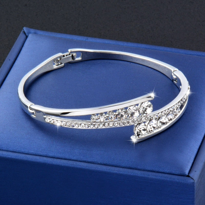 Dazzling Cubic Zirconia Hollow Bangle Cuff Luxury Crystal Bracelet