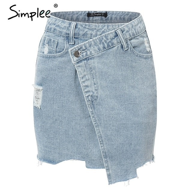 Elegant denim Summer casual street wear short mini Solid button high waist Wrap skirt