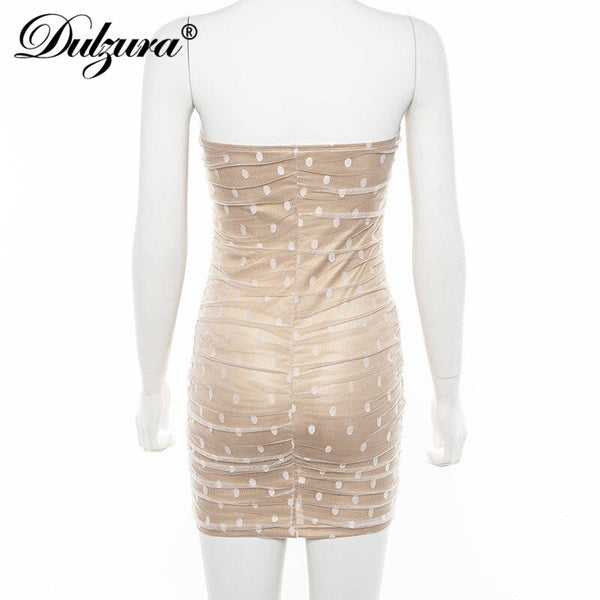 Sleeveless mesh dot print off shoulder bodycon elegant party dress