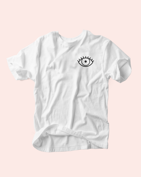 hey ma goods co tee, third eye logo tee, hey ma third eye, hmgc logo tee, logo tee shirt, hey ma logo tee, hey ma tee shirt, third eye tee shirt, hmgc third eye tee