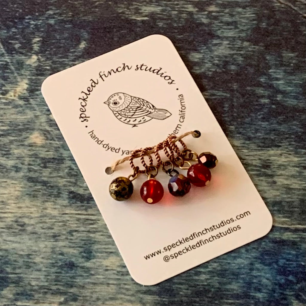 Beaded Stitch Markers - Reds Mix
