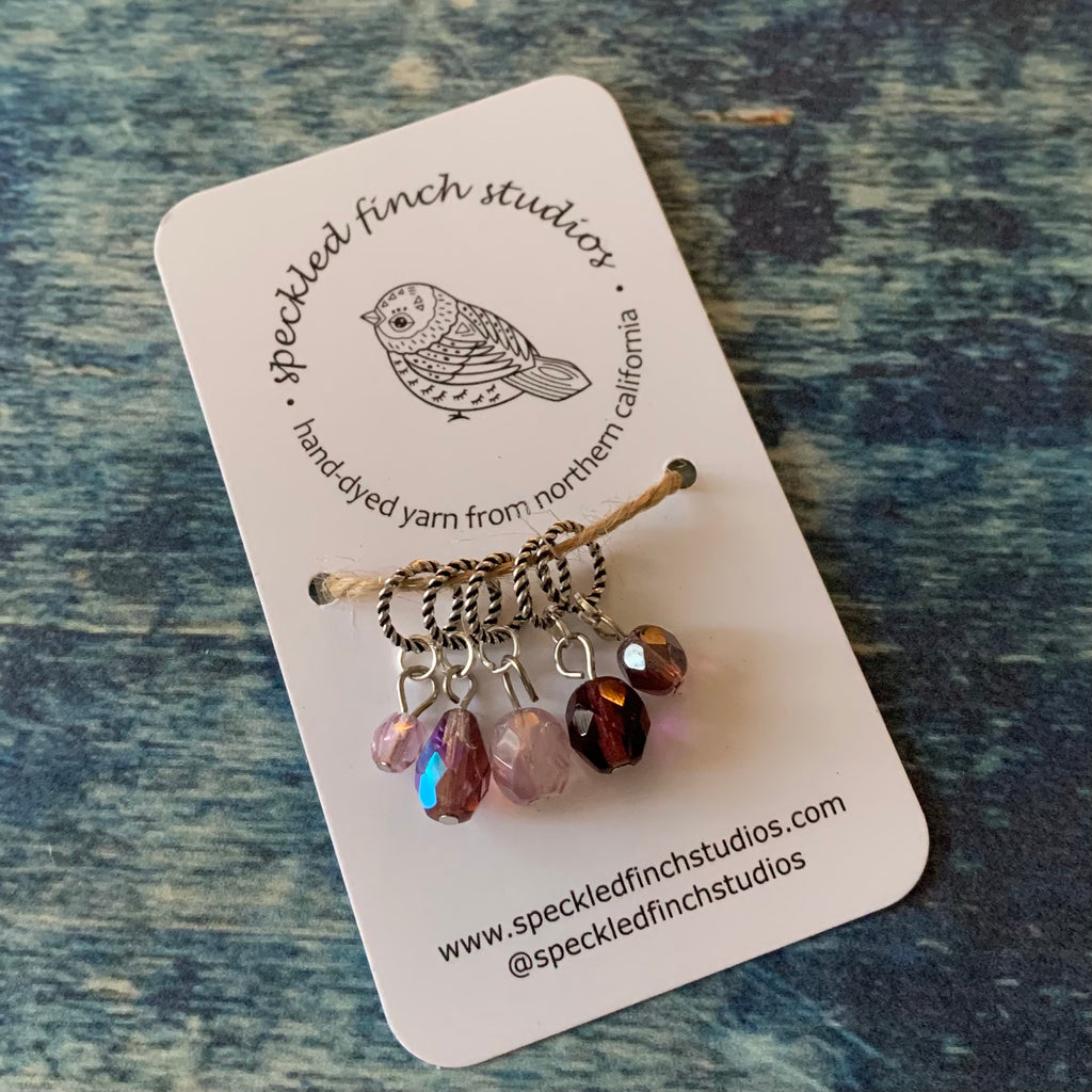 Beaded Stitch Markers - Purples Mix