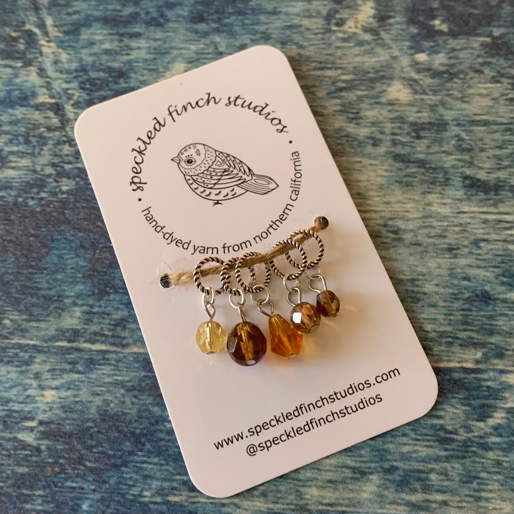 Beaded Stitch Markers - Golds Mix