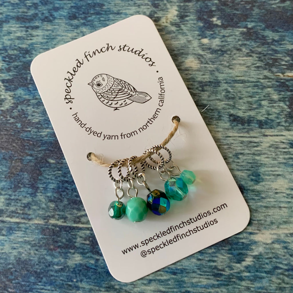 Beaded Stitch Markers - Light Teals Mix