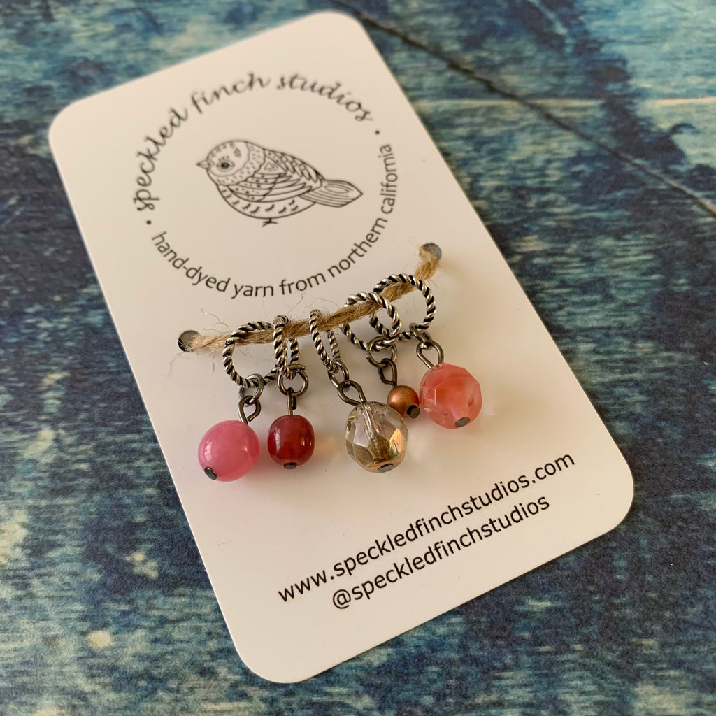 Beaded Stitch Markers - Pink Mix
