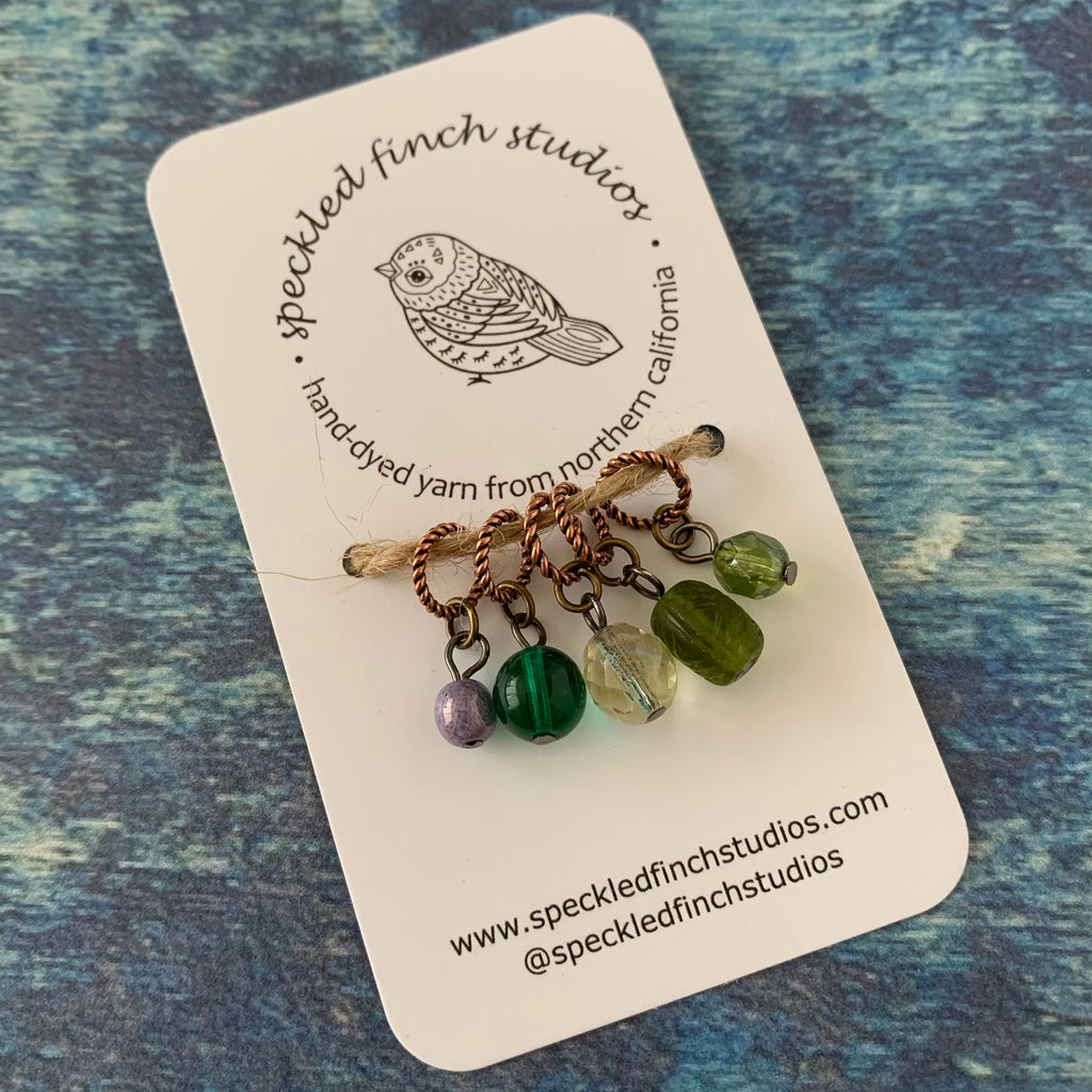 Beaded Stitch Markers - Greens Mix