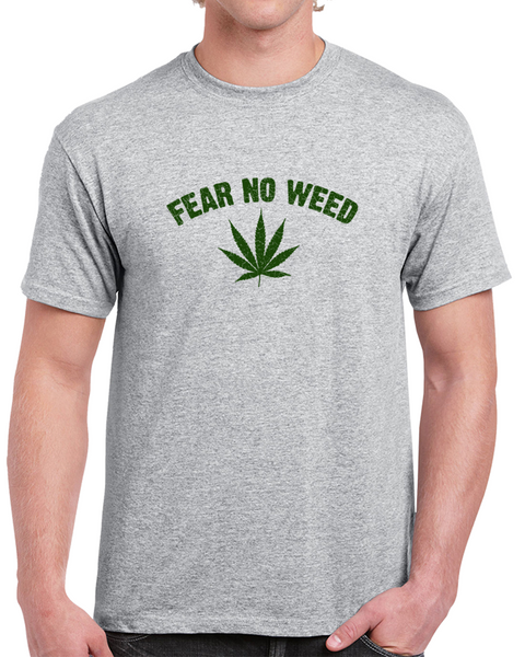 Fear No Weed Grey Cracked T Shirt