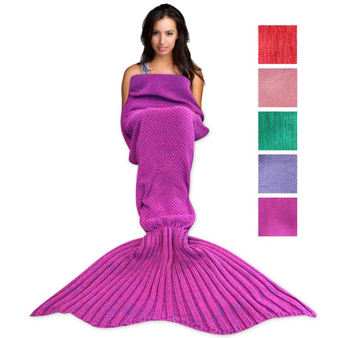 Wimaha Mermaid Blanket Crochet Fleece Purple
