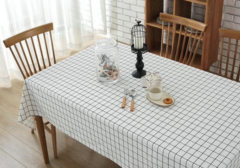 Wimaha Classic Plaid Table cloths Cotton Linen White