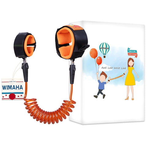 Wimaha Child Wrist Link Safety Strap in 1.5M Orange,Anti Lost Wrist Link