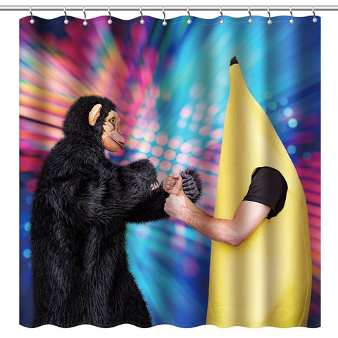 "Wimaha100% polyester shower curtain, gorilla vs banana, (72 ""*72"")"