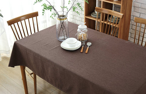 Wimaha Premier Tablecloth Solid Cotton and Linen Brown