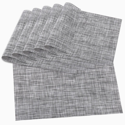Wimaha Place Mats Set of 6 Wipe Clean Placemats (Grey)