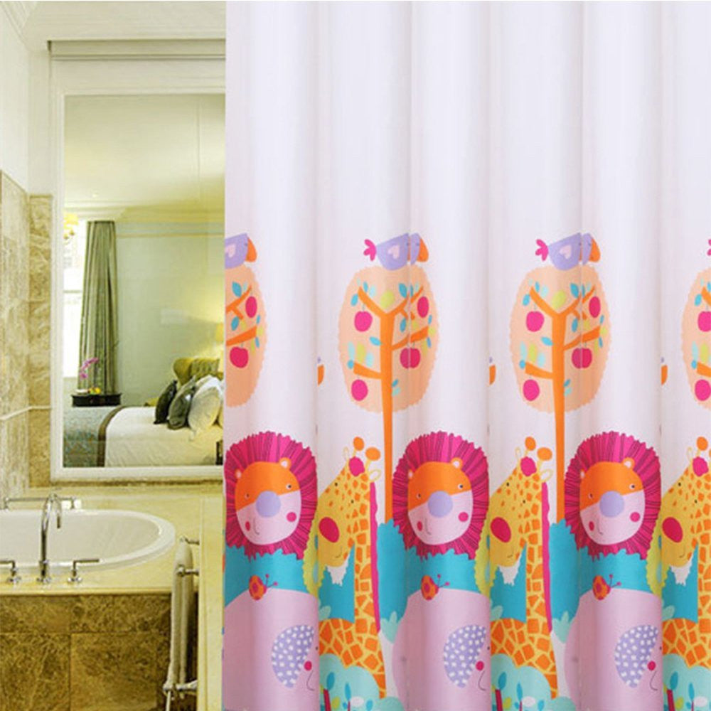 Wimah Giraffe And Lion Kids Polyester Shower Curtains 3672