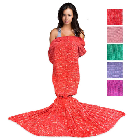 Wimaha Mermaid Blanket Crochet Fleece Red
