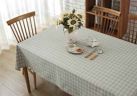 Wimaha Plaid Checkered Tablecloth Cotton Linen Grey