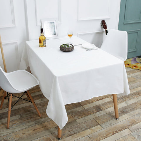 Wimaha Solid White Tablecloth Rectangle Fabric Cotton Linen
