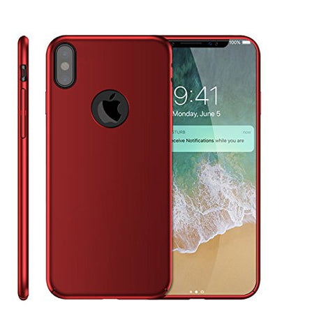 Wimaha Hard PC Case for iPhone X Back Cover Full Coverage Protection,Red