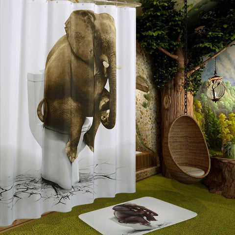 By code IGFRSFJ7-Wimaha Funny Elephant Shower Curtain Waterproof