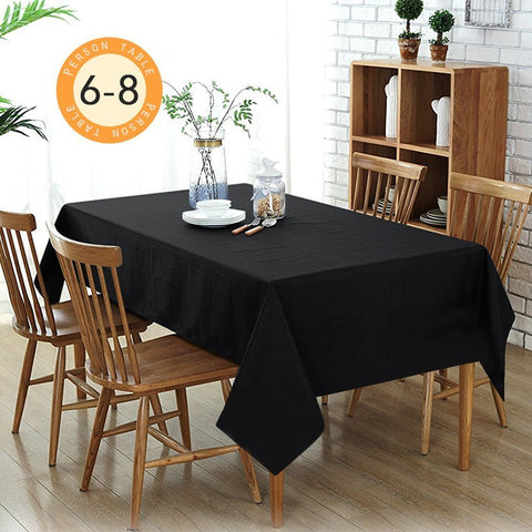 Wimaha Solid Black Rectangular Tablecloth for Rectangle Table,59 x 82In