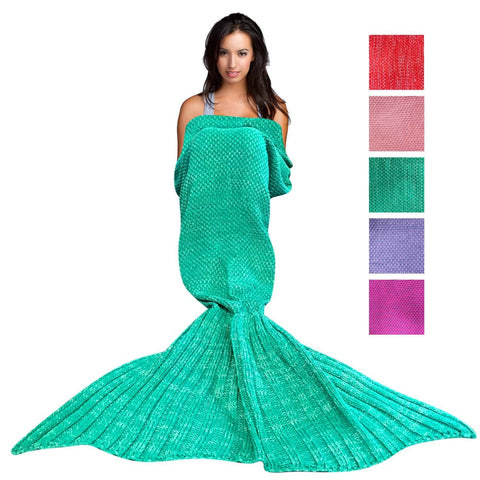 Wimaha Mermaid Blanket Crochet Fleece Green