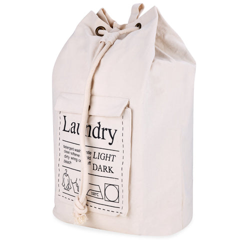 Wimaha Laundry Bag with Draw String,Beige Storage Duffle Bag