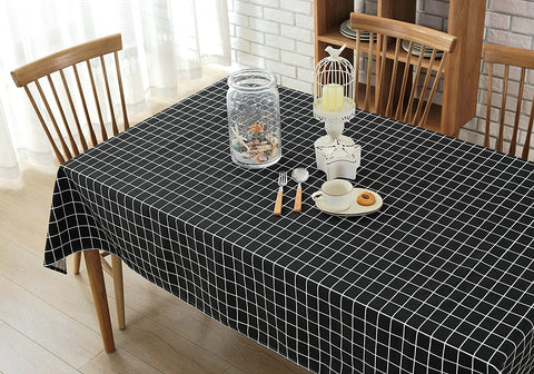Wimaha Plaid Checkered Tablecloth Cotton Linen Black