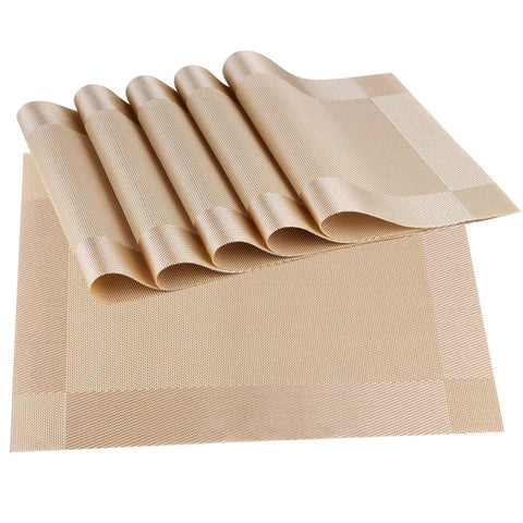 Wimaha Place Mats Set of 6 Wipe Clean Placemats (Gold)