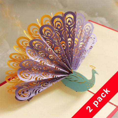 Wimaha Pop Up Cards Paper Cutting Peacock Desk Cards